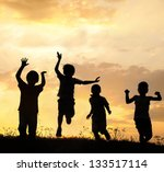 silhouette  group of happy... | Shutterstock . vector #133517114