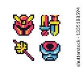 medieval items 8 bit pixel art...   Shutterstock .eps vector #1335188594