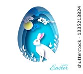 happy easter greeting card with ... | Shutterstock .eps vector #1335213824