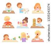 kids do not like vegetables set ... | Shutterstock .eps vector #1335243374