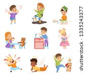 naughty and obedient kids set ... | Shutterstock .eps vector #1335243377