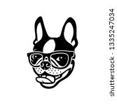 boston terrier dog wearing... | Shutterstock .eps vector #1335247034