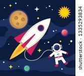 the spacecraft flying in space. ... | Shutterstock .eps vector #1335293834
