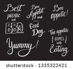 set of food cooking lettering... | Shutterstock .eps vector #1335322421
