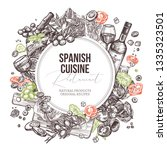 vector sketch food spanish... | Shutterstock .eps vector #1335323501