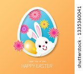happy easter greeting card with ... | Shutterstock .eps vector #1335360041