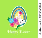 happy easter greeting card with ... | Shutterstock .eps vector #1335360044