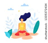 woman sitting in lotus position ... | Shutterstock .eps vector #1335372434