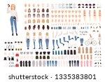trendy young girl constructor... | Shutterstock .eps vector #1335383801