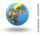 political world globe on white... | Shutterstock . vector #133541099