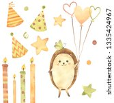 watercolor birthday  candles ... | Shutterstock . vector #1335424967