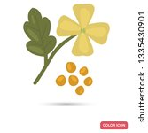 mustard flower and seeds color... | Shutterstock .eps vector #1335430901