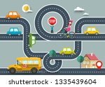 city road map with cars and... | Shutterstock .eps vector #1335439604