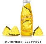 Pineapple Juice Splash Vector...