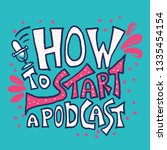 how to start a podcast card... | Shutterstock .eps vector #1335454154