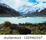 little icebergs in Hooker Lake with Mount Cook in background, viewed from Hooker Valley track, popular hiking trail in Mount Cook National Park, Canterbury region, South Island of New Zealand (NZ)