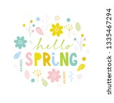 funny hello spring colorful... | Shutterstock .eps vector #1335467294
