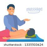 masseur   with patient   points ... | Shutterstock .eps vector #1335503624