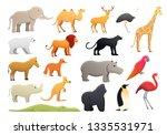 Park Zoo Icons Set. Cartoon Se...
