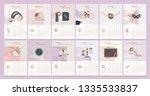 desk calendar template with...   Shutterstock .eps vector #1335533837