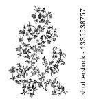 hand drawn black flower tracery ... | Shutterstock .eps vector #1335538757