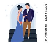 romantic couple in illustration ... | Shutterstock .eps vector #1335541301