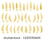 hand drawn set of yellow wheat... | Shutterstock .eps vector #1335550604