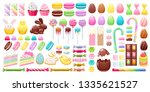 colorful easter sweets icons... | Shutterstock .eps vector #1335621527
