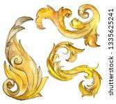 gold monogram floral ornament....   Shutterstock . vector #1335625241