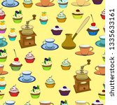 pattern with coffee grinder ... | Shutterstock .eps vector #1335633161