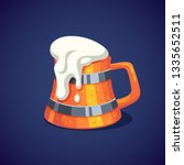 colorful wooden beer mug with... | Shutterstock .eps vector #1335652511