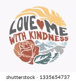 love slogan with rose and sun... | Shutterstock .eps vector #1335654737