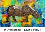 Modern Oil Painting Of Rhino ...