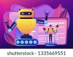 engineer controlling big robot... | Shutterstock .eps vector #1335669551