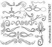 doodle set of curls border text ... | Shutterstock .eps vector #1335679307