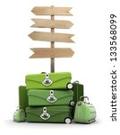 pile of luggage by a wooden sign | Shutterstock . vector #133568099