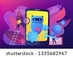 developers with wrench work on... | Shutterstock .eps vector #1335682967