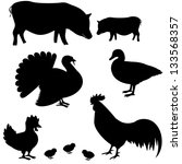 farm animals vector silhouettes ... | Shutterstock .eps vector #133568357