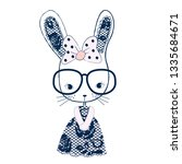 cute bunny girl with glasses... | Shutterstock .eps vector #1335684671