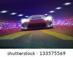 super sportscar on track 3d   Shutterstock . vector #133575569