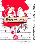 happy new year 2020. template... | Shutterstock .eps vector #1335777587