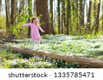 cute little girl in pink dress...   Shutterstock . vector #1335785471