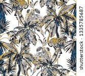 tropical seamless pattern with... | Shutterstock . vector #1335785687