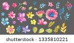watercolor flowers over gray... | Shutterstock . vector #1335810221