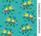 hand drawn birds seamless... | Shutterstock .eps vector #1335810491