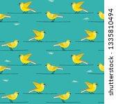 hand drawn birds seamless... | Shutterstock .eps vector #1335810494