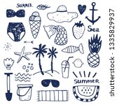 summer vacation accessories... | Shutterstock .eps vector #1335829937