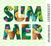 hello summer logo with coconut...   Shutterstock .eps vector #1335833237