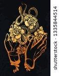 vector illustration  snakes and ... | Shutterstock .eps vector #1335844514