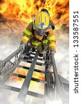 firefighter ascends upon a one... | Shutterstock . vector #133587551